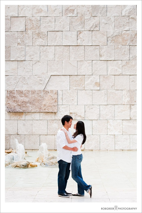 Getty Fountain and Wedding Couple