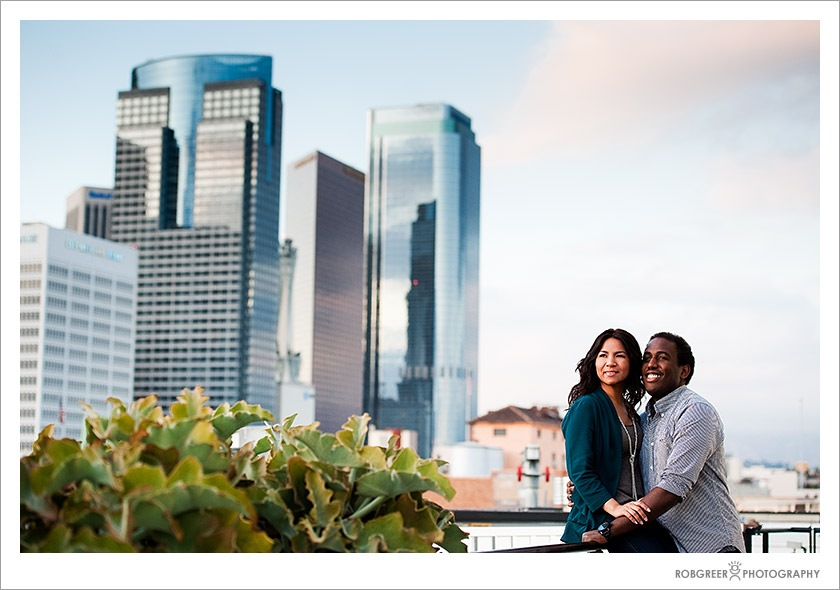 Couple in Downtown Los Angels Before Wedding